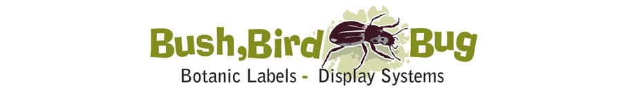 bush bird bug botanic labels display systems
