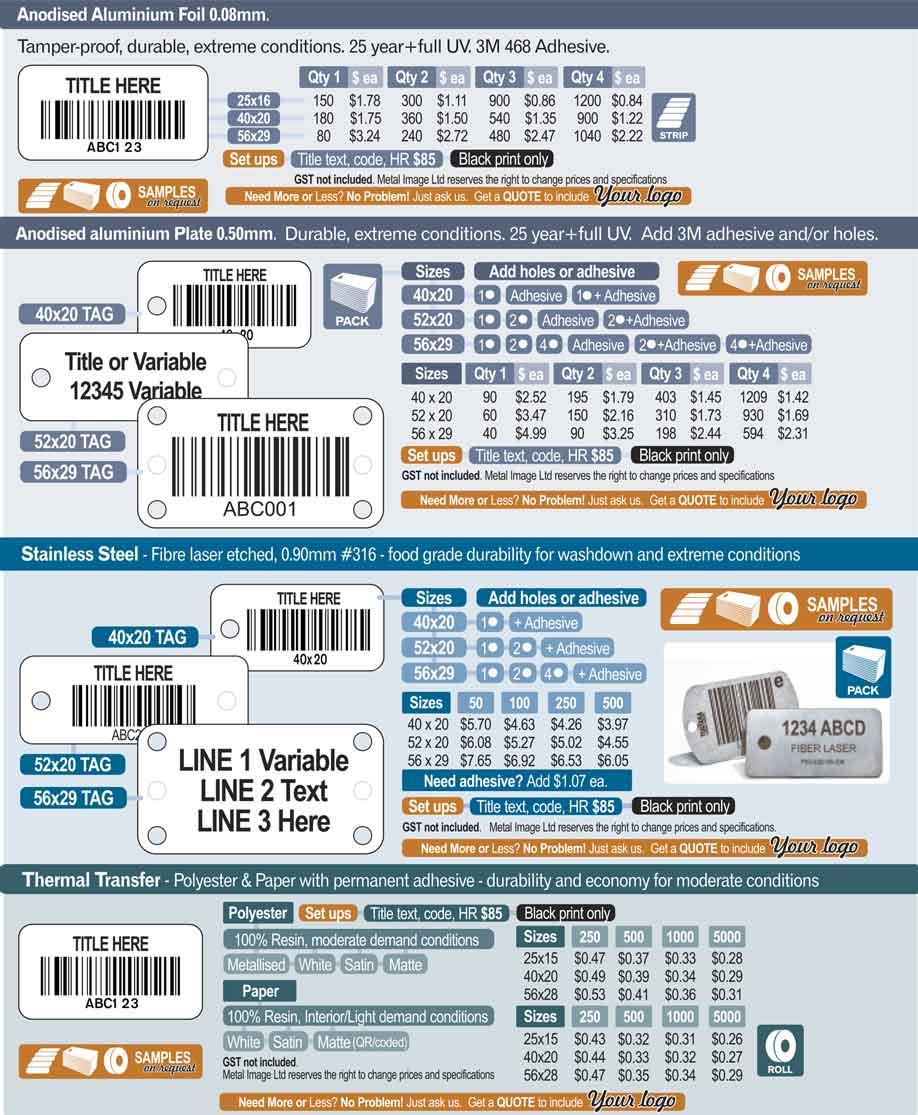 MetalImage AssetLabels PricingV9 - Asset Labelling