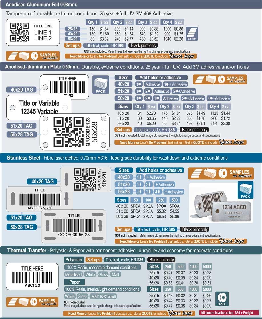 MetalImage AssetLabels PricingV11 - Asset Labelling